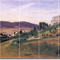 Picture-Tiles, LLC - Olevano The Town And The Rocks Tile Mural By Jean Corot - * MURAL SIZE: 24x40 inch tile mural using (15) 8x8 ceramic tiles-satin finish.