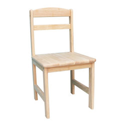 """International Concepts - Juvenile Kid's Novelty Chair (Set of 2) - Features: -Solid wood, butcher block surface.-Perfect compliment to our Wayfair SKU: WI1244 / Model # 2027.-Unfinished.-Juvenile Collection.-Collection: Juvenile.-Distressed: No.-Product Type: Chair.-Finish: Unfinished.-Powder Coated Finish: No.-Gloss Finish: No.-Frame Material: Solid parawood.-Hardware Material: Metal hardware.-Solid Wood Construction: Yes.-Number of Items Included: Includes 2 chairs.-Non-Toxic: Yes.-UV Resistant: No.-Fire Resistant: No.-Scratch Resistant: No.-Stain Resistant : No.-Mildew Resistant: No.-Rot Resistant: No.-Insect Resistant: No.-Arms Included: No.-Upholstered Seat: No.-Upholstered Back: No.-Nailhead Trim: No.-Rocker: No.-Swivel: No.-Glider: No.-Reclining: No.-Footrest Included: No.-Stackable: No.-Foldable: No.-Inflatable: No.-Legs Included: Yes -Number of Legs: 4.-Leg Material: Wood.-Protective Floor Glides: No..-Casters: No.-Storage Area: No.-Cupholder: No.-Skirted: No.-Ottoman Included: No.-Adjustable Height: No.-Ergonomic Design: No.-Age Recommendation: Over 3 years old.-Outdoor Use: No.-Seating Capacity: 1.-Weight Capacity: 75 lbs.-Swatch Available: No.-Commercial Use: No.-Recycled Content: No.-Eco-Friendly: Yes.-Product Care: Wipe clean with a damp cloth and immediately wipe with a dry cloth.-Convertible: No.Specifications: -FSC Certified: No.-CPSIA or CPSC Compliant: Yes.-CARB Compliant: Yes.Dimensions: -Overall Product Weight: 20.9 lbs.-Overall Height - Top to Bottom: 27.5"""".-Overall Width - Side to Side: 13.75"""".-Overall Depth - Front to Back: 15"""".-Seat Height: 13.78"""".-Seat Width - Side to Side: 13.78"""".-Seat Depth - Front to Back: 14.57"""".-Legs: Yes.Assembly: -Assembly Required: Yes.-Additional Parts Required: No.Warranty: -Product Warranty: No extended warranty offered."""