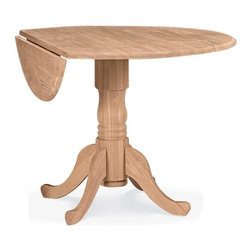 International Concepts - Round Unfinished Dual Drop Leaf Dinette Table - Dual drop leaf. 9 in. Drop leaf on each side. Floor to apron: 26.5 in.. Made of Solid Parawood. 42 in. Dia. x 29.75 in. H (45 lbs.)