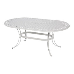 "Home Styles - Home Styles Biscayne 72"" Oval Dining Table in White Finish - Home Styles - Patio Dining Tables - 555233 - Home Styles cast aluminum outdoor dining collection gives you the beauty of ornately designed pieces without the high cost.  Constructed of cast aluminum in a UV resistant powder coated White finish; this Oval Dining Table features a top that is designed specifically to prevent damage caused from pooling by allowing water to pass through freely.  Adjustable nylon glides prevent damage to surfaces caused by movement and provide stability on uneven surfaces. Size:  42w 72d 30h.  Stainless steel hardware."