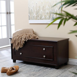 Belham Living - Vintage Modern Cedar Chest - Espresso Dark Brown - HNLVI004-E - Shop for Trunks and Chests (not dressers) from Hayneedle.com! The Vintage Modern Cedar Chest - Espresso enhances your room with a touch of warm modern style and generous storage. Clean simple lines and round metal hardware in a brushed nickel finish accentuate the appealing modern design that will look great for years to come. Perfect at the end of your bed or placed in any room this sturdy chest is constructed of durable MDF wood a strong and dense engineered wood product with a deep espresso finish. The interior is cedar lined for a wonderful aroma. Equipped with stay-put safety hinges the flip-top lifts to reveal a generous storage space for blankets books out-of-season clothing heirlooms or anything else.