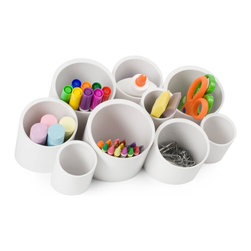 Boon Stash Multi-Room Organizer, Coconut - This is a great way to organize all the little knickknacks in the office: pens, pencils, markers, erasers, paper clips and so forth.