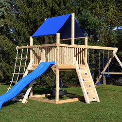 Bailey Climber - White cedar swing set with rock wall and rope ladder.