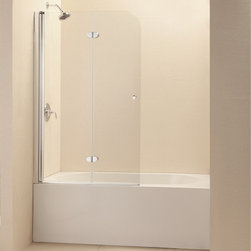 """BathAuthority LLC dba Dreamline - EZ-Fold Frameless Hinged Tub Door, 36"""" W x 58"""" H, Chrome - The EZ-Fold tub door is the perfect combination of function and style. The frameless door makes a statement with sophisticated curved silhouette, while the practical feature of the bi-fold action offers convenience. Choose the EZ-Fold tub door for a unique and modern look at an attractive price point."""