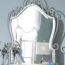 Standard Furniture - Spring Rose Metal Mirror w Beveled Glass in W - Design element adding instant eye appeal to any room. French dovetail. Mounting hardware included. Surfaces clean easily with a soft cloth. Top drawers are felt lined to protect delicate items. White pearlescent finish creates lasting, attractive and easy-to-clean surfacesSpring Rose features a traditional look, inspired by classic European Victorian design. Victorian style overlays grace every piece adding a soft and feminine feel. 44 in. W x 35 in. H