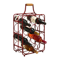 "Benzara - Table Top Wine Rack Portable - This table top wine rack is built to hold 12 bottles of wine simultaneously, the perfect thing to keep in the kitchen or dining room. But it's convenience handle also makes it useable on the go, for a portable picnic in the park. If wine is what you enjoy there is no reason not to keep a bottle nearby, no matter where you go.; Made of metal; Size: 13""x7""x22"""