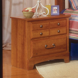 Standard Furniture - Standard Furniture City Park 2 Drawer Nightstand in Cherry - City Park is a preservation of distinct craftsman looks. Extra deep storage space, including a sweater drawer in chest and dresser. Dresser drawers are double bluff cut to enhance design. The case pieces incorporate two different hardware designs to add visual interest. Multiple slats in bed and arched top rail above mirror showcase the craftsmanship of this appealing collection. Crowns on bed and mirror are enhanced with an ornamental metal rosette. The metal pulls are enhanced by an antique pewter color finish and brass color highlights. Cherry color and star pattern finish present a charming and captivating presence. Quality wood products bonded together creates durable construction throughout. - 5707.  Product features: Belongs to City Park Collection by Standard Furniture; French dovetail drawers with roller slide drawer guides; 2 Drawers; Metal pulls are enhanced by an antique pewter color finish and brass color highlights; Extra deep storage space; Wood products with simulated wood grain laminates; This group may contain plastic parts; Surfaces clean easily with soft cloth as needed; Cherry star color and pattern finish. Product includes: Nightstand (1). 2 Drawer Nightstand in Cherry belongs to City Park Collection by Standard Furniture.