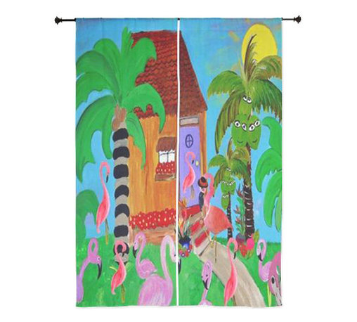 xmarc - Tropical Birds Sheer Curtains, Yard Flamingso - The windows have it with these sheer, decorative curtains. Romantic and flowing, these elegant chiffon window treatments finish a room with the perfect statement