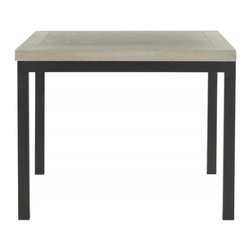 Safavieh - Dennis Side Table - Ash Grey - With its understated transitional look, the clean-lined Dennis side table is the perfect piece to refresh a room. A sophisticated take on the industrial-chic movement, it is built to last from ash grey solid elm with Parson's style metal legs and frame. Use the Dennis table beside a sofa or chair anywhere from an urban apartment or to a suburban contemporary home.