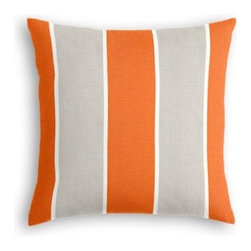 Orange & Grey Awning Stripe Custom Outdoor Pillow - Add some punch to your patio or porch with a custom Simple Outdoor Pillow.  With clean contemporary lines and weather-friendly construction, it's sure to keep your outdoor oasis looking chic for years to come. We love it in this wide outdoor awning stripe in bright orange and gray. As perfect inside as poolside.