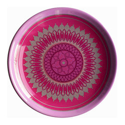 """Bongenre - Winchester Mandala Solid Lavender 16"""" Diameter Platter/Bowl - One 16"""" diameter heavy-duty melamine serving bowl or platter, made of lead- and cadmium-free melamine dyed lavender-color, with a decal on top. The Anglo-Indian pattern is printed in shades of pink, purple, fuchsia and with metallic platinum tones."""