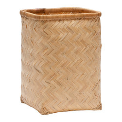 """Pigeon & Poodle - Pigeon & Poodle Lugo Natural Square Wastebasket - A lacquered finish updates the Pigeon & Poodle Lugo square wastebasket with modern character. Featuring a woven chevron pattern, these bamboo accessories allure in a natural hue. 8""""W x 8""""D x 11""""H; Reflecting a handmade artistry, slight variations may occur"""