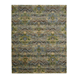 """Nourison - Nourison Rhapsody RH010 7'9"""" x 9'9"""" Seaglass Area Rug 18709 - Lovely, luminous shades of blue and green hint at oceanic currents, weaving a tapestry of color and movement. Mysteriously stylized figural motifs float across the surface, adding sparkling accents of pale gold. A beautifully detailed and entrancing design."""