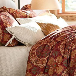 Madera Suzani Duvet Cover, Twin, Red - The stylized blooms found on traditional suzani textiles were the muse behind this bedding's bold, colorful pattern. Woven of a linen/cotton blend. Duvet cover reverses to solid red. Sham reverses to self. Duvet cover has a button closure; sham has an envelope closure. Duvet cover, sham and insert sold separately. Machine wash. Imported.