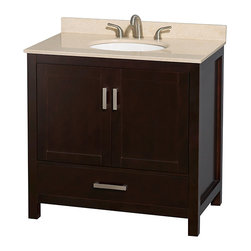 """Wyndham Collection - Sheffield 36"""" Espresso Single Vanity w/ Ivory Marble Top & Undermount Oval Sink - Distinctive styling and elegant lines come together to form a complete range of modern classics in the Sheffield Bathroom Vanity collection. Inspired by well established American standards and crafted without compromise, these vanities are designed to complement any decor, from traditional to minimalist modern. Available in multiple sizes and finishes."""