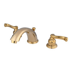 Kingston Brass - Two Handle 8in. to 16in. Widespread Lavatory Faucet with Brass Pop-up - Two Handle Deck Mount, 3 Hole Sink Application, 8in. to 16in. Widespread, Fabricated from solid brass material for durability and reliability, Premium color finish resists tarnishing and corrosion, 1/4 turn On/Off water control mechanism, 1/2in. IPS male threaded inlets with rigid copper piping, Duraseal washerless cartridge, 2.2 GPM (8.3 LPM) Max at 60 PSI, Integrated removable aerator, 5-3/4in. spout reach from faucet body, 4in. spout height. Brass pop-up included.