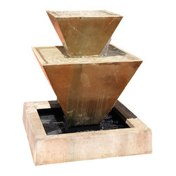 Double Oblique Outdoor Water Fountain, Sierra - The Double Oblique is a great centerpiece for your courtyard or patio. It features unique angles that will definitely be a conversation piece. The fountain also creates vast amount of water flow for sounds to take pleasure in.
