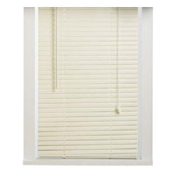 "Achim - Alabaster Vinyl 1"" Mini Blinds - These blinds will fit 1/2"" wider and 3/8"" smaller than stated size. The head rail will measure 1/2"" less than stated size. Lead free PVC Vinyl construction. Includes a slat type valance. Installation harware included. These blinds can be shortened, the instructions to do so are enclosed. Very easy cleaning."