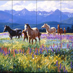 The Tile Mural Store (USA) - Tile Mural - Wildflower Summer - Cg - Kitchen Backsplash Ideas - This beautiful artwork by Claire Goldrick has been digitally reproduced for tiles and depicts several horses in a colorful field.  This tile mural with images of horses on tiles would be perfect as a part of your kitchen backsplash tile project. Decorative horse themed tiles make an impressive kitchen backsplash idea. You can use a tile murals with horses in the bathroom too as part your tub and shower surround tile project.