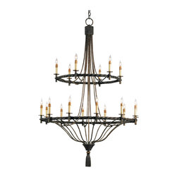 Kathy Kuo Home - Grand Wrought Iron Double Tiered 18 Light Chandelier - Spanish Revival Lighting never looked so sophisticated as it does in this artfully welded, double tiered chandelier.  18 bulbs create a vibrant effect, while details like the tassel bottom nod to traditional lighting style.