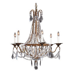 """Inviting Home - Six-light Empire Crystal Chandelier - Six light Empire style crystal chandelier; 26"""" x 29-1/2""""H; hand-crafted in Italy; Six light Empire style crystal chandelier on an antiqued gilded wrought iron frame. Chandelier embellished with French-cut and U-shaped crystal pendants crystal buttons and rosettes. This chandelier is hand-crafted in Italy. UL approved - dry location; hardwire; 6x 60W max. candelabra bulds; bulbs not included. Approx. 6 feet of chain/wire drop provided. Handcrafted in Italy."""