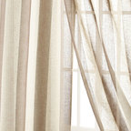 """Horchow - Each 96""""L Seagrove Stripe Curtain - Each 96""""L Seagrove Stripe CurtainDetailsSemi-sheer polyester/linen.Dry clean.Imported.For guidelines on how to measure for curtains click here."""