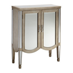 None - Lincoln 2-door Mirrored Accent Cabinet - The Lincoln Accent Cabinet is a sophisticated two-door chest with beveled mirror door fronts. This charming piece also highlights a scalloped design and a stunning champagne finish.