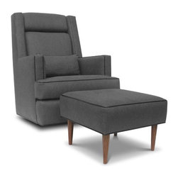 Jennifer Delonge Daddy Glider with Optional Lumbar Pillow - I love this cool chair! That ottoman (available separately) is fantastic too.