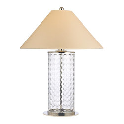 Hudson Valley - Hudson Valley L536-PN 1 Light Medium Table Lamp WiShelby Collection - Lively and effervescent, Shelby's modish array of hand-cut concave circles showcases the glamour of mid-century design.  The crystal-clear glass column is capped by a sharply sloped shade, giving an Eastern contrast to the glass body's youthful exuberance