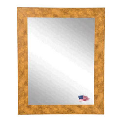 Rayne Mirrors - USA Made Mosaic Gold Wall Mirror - This contemporary gold stone wall mirror features marbled copper accents and a sleek flat design, presenting a fresh modern feel to this classic piece. Rayne's American Made standard of quality includes; metal reinforced frame corner  support, both vertical and horizontal hanging hardware installed and a manufacturers warranty.