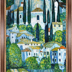 """overstockArt.com - Klimt - Church in Cassone (Landscape with Cypress) Oil Painting - 24"""" X 36"""" Hand Painted Canvas Hand painted oil reproduction of a famous Klimt painting, Kirche in Cassone , Church in Cassone (Landscape with Cypress). The original masterpiece was created in 1913. Today it has been carefully recreated detail-by-detail, color-by-color to near perfection. Gustav Klimt (1862-1918) was one of the most innovative and controversial artists of the early twentieth century. Influenced by European avant-garde movements represented in the annual Secession exhibitions, Klimt's mature style combines richly decorative surface patterning with complex symbolism and allegory, often with overtly erotic content. This work of art has the same emotions and beauty as the original. Why not grace your home with this reproduced masterpiece? It is sure to bring many admirers!"""