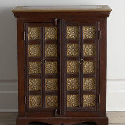 Horchow - Starburst Chest - This magnificent two-door cabinet features intricate hand-applied, brass-foiled lotus flowers on 20 door panels with matching brass handiwork framing the top and sides. Handcrafted of mango wood solids. Hand-painted espresso finish. Two doors and on...