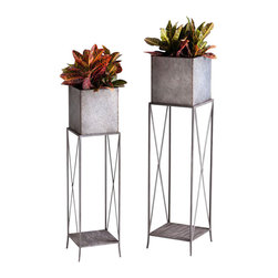 """Cyan - Newton Planters, Set of 2 - Set of 2. - Small: 10.75""""Wx10.75""""Dx41.5""""H- Large: 12""""Wx12""""Dx48""""H.- Weight: 21 lbs."""