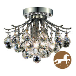 Christopher Knight Home - Christopher Knight Home 3-Light Chrome Flush-Mount Crystal Chandelier - Dazzling crystal globe droplets fall from the arms of this chrome flush-mount chandelier. Four halogen lights in the center create a stunning light display that would give sparkle and shine to any room of your home. This item is hard-wired.