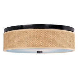 ET2 - ET2 Elements Transitional Flush Mount Ceiling Light X-IO101-40159E - The Elements collection offers the freedom of choice in lighting design. Start with the style selection - pendant, mini pendant, or wall sconce - then choose the right shape, square or circular, for the space. Wrap the selected Oil Rubbed Bronze or Satin Nickel lamp in one of five color options that will make just the right statement: Grass Cloth, White Weave, White Pleat, Crimson or Satin White. Finally, choose the perfect light source for the task. Whether fluorescent, xenon, or incandescent, this collection brings together all the right elements.