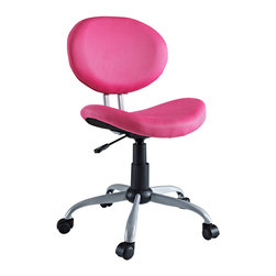 LexMod - Comfort Groove Swivel Mesh Task Chair in Pink - Make your office space work for you without the work. Let the simple sleek design guide you through a comfortable day at the office.