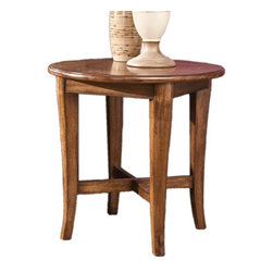 Signature Design by Ashley - Lake County Round End Table 26 W x 26 D x - Made with select veneers and hardwood solids in a two-tone finish. X-stretcher base design. Medium brown finish covers most of the table, with inlayed branch border frame on table top in a lighter color.