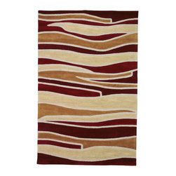 """Sands Rug Co. - Sands Trio Grand Canyon Reds Area Rug (5'X7'6"""") - Modern stripes in various sizes, with or without borders in colours that add a punch to any room in your home. Primary colours are used with a space dying technique which soften the tones to let you easily add this multi colour rug to your current space. Each circle is hand carved to add depth and dimension."""