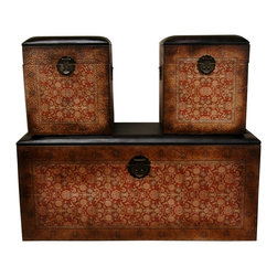 Oriental Unlimted - 3 Pc Olde-Worlde European Storage Boxes - Set of 3. Includes trunk bench and 2 nested stools inside. Tops are crafted from wood with foam cushions with textured vinyl covers. Finished with hardy textured faux leather. Printed with an elegant Burgundy and burnt Orange decorative design. 39.5 in. W x 16 in. D x 18.5 in. H