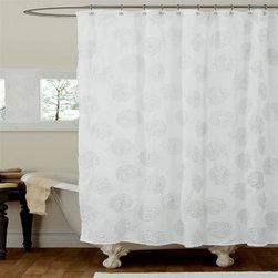Lush Decor - Samantha White Shower Curtain - Includes 1 Shower curtain. Fabric Content:100% Polyester. Care Instructions: Dry clean. 72 in. W x 72 in. H You will just love the way the detail of the ribbon embroidery looks on the surface of this microfiber shower curtain. The surface treatment bring dimension to the design creating a warm and inviting look for your shower.