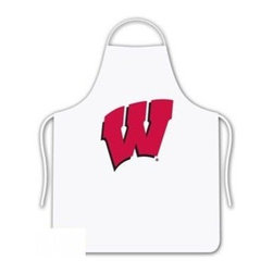 Sports Coverage - Wisconsin University Tailgate Apron - Collegiate Wisconsin University White screen printed logo apron. Apron is 100% cotton twill with screenprinted logo. One Size fits all.