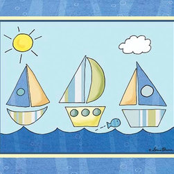 Oh How Cute Kids by Serena Bowman - Big Blue Sea - Striped Regatta, Ready To Hang Canvas Kid's Wall Decor, 16 X 20 - Each kid is unique in his/her own way, so why shouldn't their wall decor be as well! With our extensive selection of canvas wall art for kids, from princesses to spaceships, from cowboys to traveling girls, we'll help you find that perfect piece for your special one.  Or you can fill the entire room with our imaginative art; every canvas is part of a coordinated series, an easy way to provide a complete and unified look for any room.