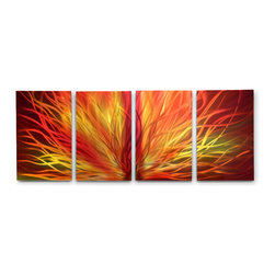 Miles Shay - Metal Wall Art Decor Abstract Contemporary Modern Sculpture- Radiant Sunset- - This Abstract Metal Wall Art & Sculpture captures the interplay of the highlights and shadows and creates a new three dimensional sense of movement as your view it from different angles.