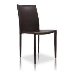 Modloft - Varick Side Chair (set of 2) (Set of 2) - With its sleek minimalist look, the Varick dining chair will make the perfect addition to your dining room. A noticeably thick layer of bonded leather encompasses the backrest, seating area and legs. At a measurement of 19W in. x 20D in. x 36H in., this dining chair is the definition of both style and comfort. Seat height 19 in. Sold by pair only. Imported. Features: -Dining Chair.-Thick bonded leather backrest.-Seat height of 18.5 inches.-Distressed: No.Dimensions: -Overall Dimensions: 36'' H x 19'' W x 20'' D.-Overall Product Weight: 11 lbs.Warranty: -Manufacturer provides 1 year warranty.