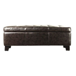 Home Decorators Collection - Murphy Storage Bench - With its invitingly tufted, rich brown leather cushion, our Murphy Storage Bench offers classic comfort. Lift up the seat for plenty of storage. Brown leather with solid wood legs. Tufted top with decorative stitching. Ample storage inside. Legs easily attach.