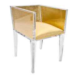 """Gold Sequin Chair - This is a custom, handcrafted, """"Floral Art"""", one-of-a-kind item. The Gold Sequin Chair clear acrylic frame and legs, gold sequin design with silk-upholstered seat. Each piece varies and may have slight variations."""