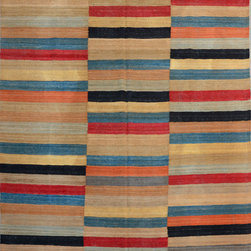 """ALRUG - Handmade Multi-colored Oriental Kilim  6' 8"""" x 9' 6"""" (ft) - This Afghan Kilim design rug is hand-knotted with Wool on Wool."""