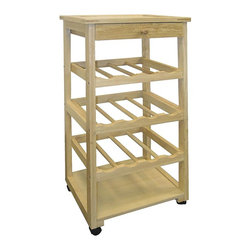 ORE International - Mobile Wood Cart w Wine Rack Shelves & Drawer - Storage drawer. 3 Bottle racks. Open shelf. Holds 12 bottles. Rolling casters. Made from oak wood and particle board. Natural rustic finish. 15.5 in. W x 11.5 in. D x 32 in. H (15 lbs.)Add kitchen counter space and a beautiful rolling wine rack with 1 unit. Ideal for entertaining, this castered wine rack will be a versatile addition to any kitchen or dining room.