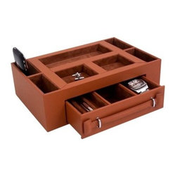 Leather Valet Box with Pen & Watch Drawer - Tan Leather - 11W x 3H in.