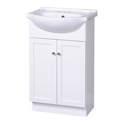 """Foremost - Foremost COWA2135 White Columbia Columbia Bathroom Vanity 21-3/4"""" - Vanity Package Includes:  Wood vanity cabinet Rectangular vitreous china single basin sink  Vanity Cabinet Features:  Constructed of hardwood providing durability and aesthetic appeal Features a full-sized cabinet with matching door providing ample storage space Vanity is crated and shipped fully assembled Complete with matching hardware Solid construction and assembly provides years of reliable performance  Vanity Cabinet Specifications:  Overall Height: 36-3/4"""" (measured from ground level to highest point on vanity) Overall Width: 21-3/4"""" (measured from left most to right most part on vanity) Overall Depth: 16-1/2"""" (measured from back most to front most part on vanity) Mounting Style: Freestanding Number of Drawers: 0 Number of Doors: 1 Number of Shelves: 0 Configuration: Vanity cabinet and vitreous china basin sink included  Sink Specifications:  Sink Basin Width: 11-3/4"""" (measured from the back inner rim to the front inner rim) Sink Basin Length: 21-3/4"""" (measured from the left inner rim to the right inner rim) Number of Faucet Holes: 3"""